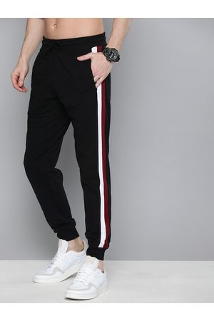 HERE&NOW Men Black Solid Regular Fit Joggers with Side Stripe Detail