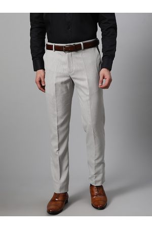 Blackberrys Men Grey & White Tapered Fit Textured Formal Trousers