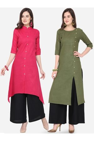 Silk Bazar Women Green & Pink Solid Kurta with Palazzos