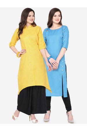 Silk Bazar Women Turquoise Blue & Yellow Solid Kurta with Churidar