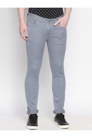 Mufti Men Grey Slim Fit Solid Regular Trousers