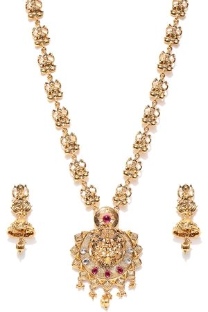 Zaveri Pearls Antique Gold-Toned Stone-Studded Goddess Temple Jewellery Set