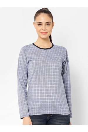 VIMAL JONNEY Women Blue Checked Round Neck T-shirt
