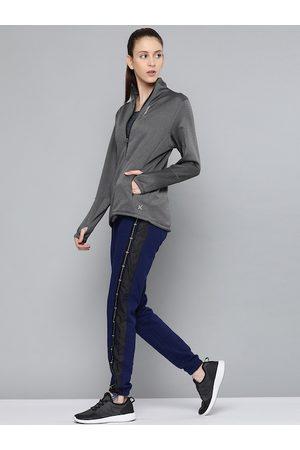 HRX by Hrithik Roshan Women Sports Jackets - Women Anthra Melange Solid Slim Fit Rapid-Dry Training Jacket