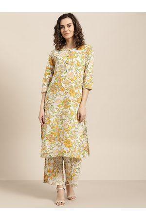 Sangria Women Palazzos - Women White & Mustard Yellow Printed Kurta with Palazzos