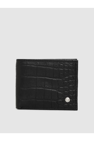 Hidesign Men Black Textured Leather Two Fold Wallet