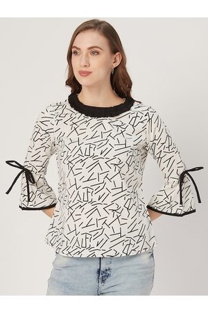 Style Quotient Women White and Black Abstract Print Top