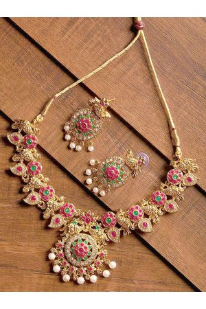 Zaveri Pearls Gold-Plated & Red Jewellery Set