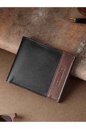 Highlander Men Black Solid Two Fold Wallet with Colourblocked Detail