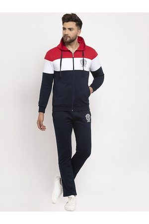 WILD WEST Men Navy Blue & Red Colourblocked Tracksuit