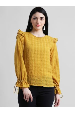 Zink London Women Yellow Checked Shirt Style Top