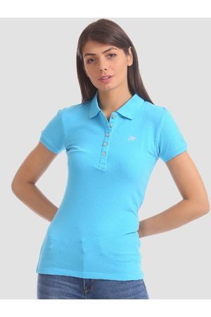 Aeropostale Women Blue Solid Polo Collar T-shirt