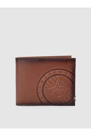 Tommy Hilfiger Men Tan Brown Textured Genuine Leather Two Fold Wallet