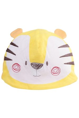 chicco Infant Unisex Kids Yellow & White Tiger Embroidered Knitted Hat