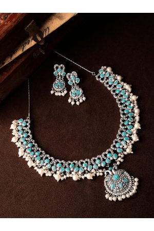Rubans Women Oxidised Silver-Toned, Blue & White Stone & Pearl Embellished Handcrafted Jewellery Set