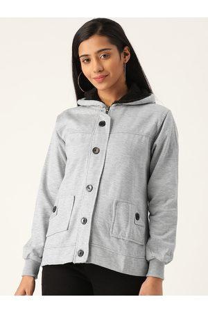 Belle Women Grey Melange Solid Hooded Sweatshirt