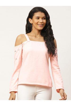 Belle Women Pink Solid Cold-Shoulder Sweatshirt