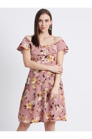 Zink London Women Pink Printed Fit and Flare Dress