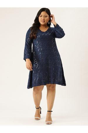 Revolution Women Navy Blue Embroidered & Sequinned Plus Size Scalloped A-Line Dress