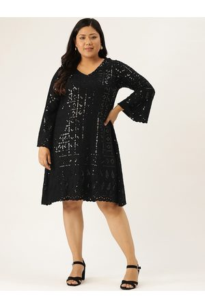 Revolution Women Black Embroidered & Sequinned Plus Size Scalloped A-Line Dress