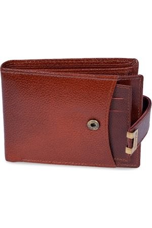 Hidelink Men Brown Textured Leather Two Fold Wallet