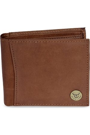 Hidelink Men Tan Brown RFID Protected Genuine Leather Solid Two Fold Wallet