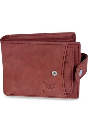 Hidelink Men Red Solid RFID Protected Genuine Leather Two Fold Wallet