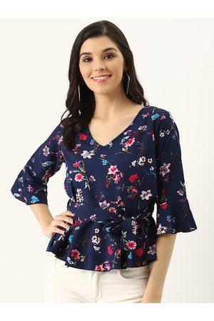 U&F Women Navy Blue & Pink Floral Print A-Line Top