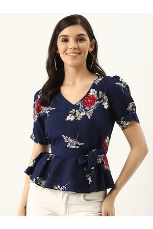 U&F Women Navy Blue & White Floral Print Peplum Top