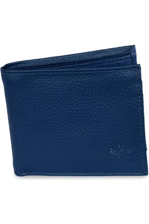 Krosshorn Men Blue Solid Two Fold Wallet