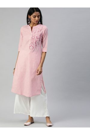 Alena Women Pink & Yellow Striped Straight Kurta With Embroidery