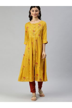 ALENA Women Mustard Yellow & Red Floral Printed Pleated A-Line Kurta With Gotta Patti Work