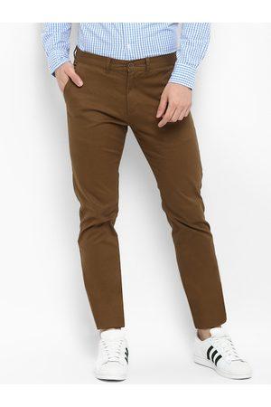 Red Tape Men Brown Slim Fit Solid Regular Trousers