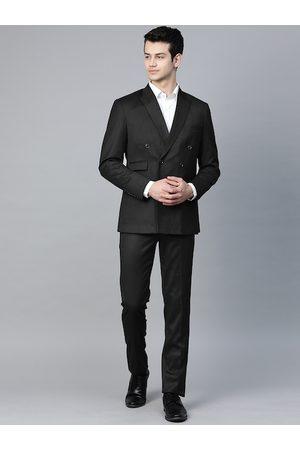 MANQ Men Black Solid Slim Fit Double-Breasted Formal Suit
