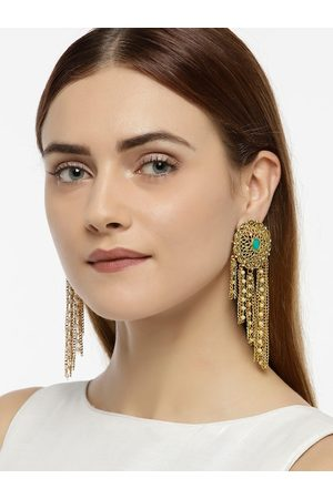 Zaveri Pearls Women Gold-Toned & White Circular Drop Earrings