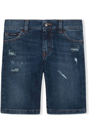 Dolce & Gabbana Distressed-effect thigh-length shorts