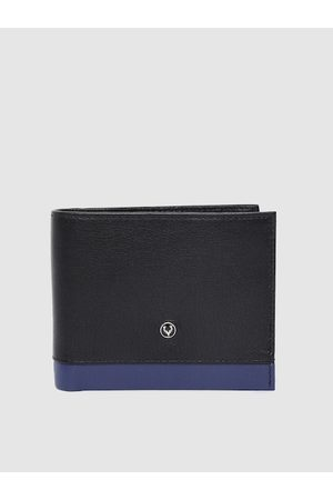 Allen Solly Men Black Solid Leather Two Fold Wallet