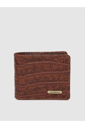 Hidesign Men Tan Brown Crocodile Skin Textured Two Fold Leather Wallet