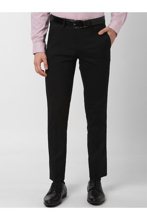 Peter England Men Black Slim Fit Solid Formal Trousers