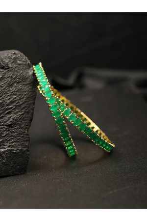 Priyaasi Women Set of 2 Green Gold-Plated Stone-Studded Handcrafted Bangles