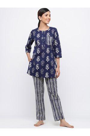 Jaipur Women Navy Blue & White Printed Night suit