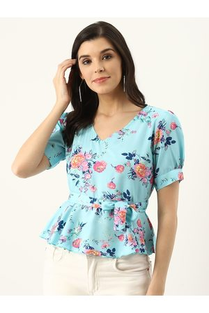 U&F Women Blue & Pink Floral Print A-Line Top
