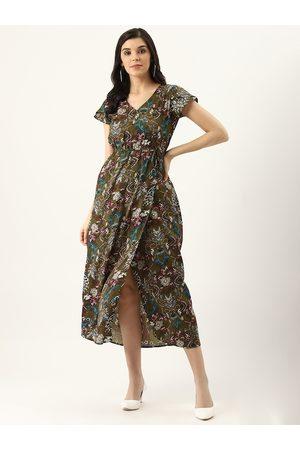 U&F Women Olive Green & Beige Printed Wrap Dress