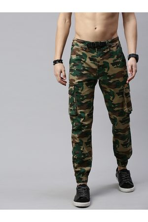 Roadster Men Beige & Green Straight Fit Printed Joggers