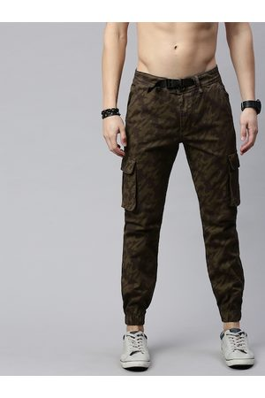 Roadster Men Bronze-Toned & Olive Green Straight Fit Printed Joggers