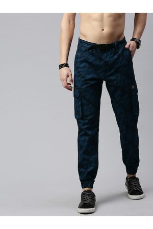 Roadster Men Navy Blue & Black Straight Fit Printed Joggers