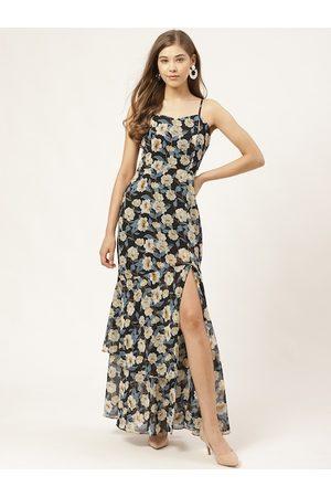 20Dresses Women Black & Off-White Floral Print High-Slit Tiered Maxi Dress