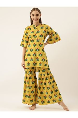 Clt.s Women 2 Pc Yellow & Green Floral Printed Night Suit Set