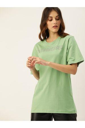 DILLINGER Women Green Printed Round Neck Longline Oversized T-shirt