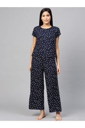 Yash Gallery Women Navy Blue & White Polka Printed Night suit